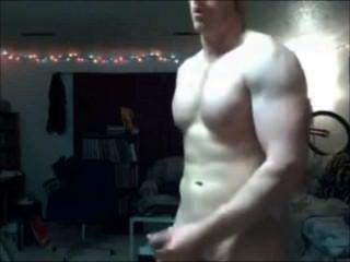 Musculoso str8 redhead stud dispara sua carga quente
