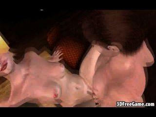 Foxy cartoon 3d loura chupa galo e fica fodido