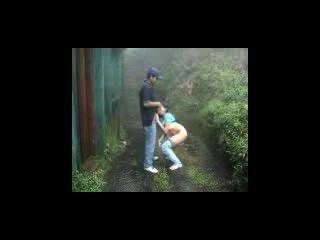 Indianos, amantes, fazer, saída, chuva, ao ar livre