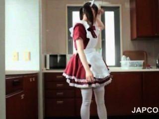 Bonito, asiático, empregada doméstica, intermitente, bunda, upskirt, seduz, dela, chefe