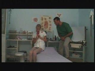 Jovem, europeu, enfermeira, masturbando, fodendo, trabalho