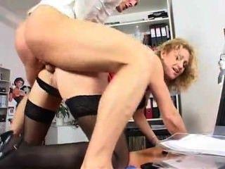 Moda, longo, pernas, escritório, milf, ação