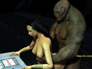 Wonderwoman obtém fodido por massivo dick troll