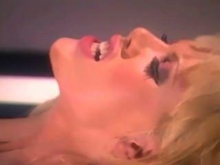 Loira, glamour, babe, grande, boobs, fodendo, vermelho, coxa ...