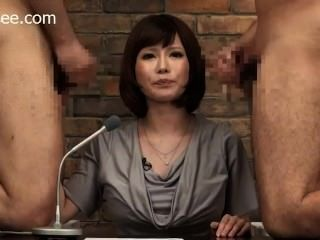 Notícia japonesa âncora fica cum facial