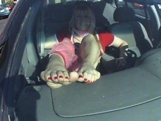 Jeanie soft soles para fora carro fetiche pé de janela