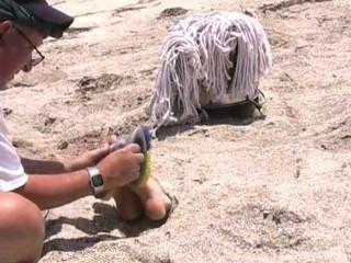 Cruel torturar cócegas na praia, amordaçado e com os olhos vendados